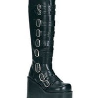 CONCORD-108 Black Buckled Boots - Demonia boots and shoes