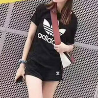 """Adidas"" Fashion Casual Clover Letter Print Stitching Ribbon Short Sleeve Set Two-Piece Sportswear"
