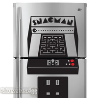 Snac-Man Arcade  - Pac Man Inspired Fridge Art- Vinyl Wall Art - FREE Shipping - Fun Wall Decal