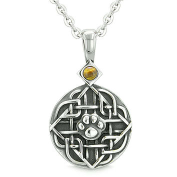 Amulet Celtic Shield Knot Magic Wolf Paw Tiger Eye Protection Magic Powers Pendant 18 Inch Necklace
