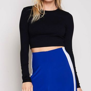 Ready In Five Long Sleeve Ribbed Crew Neck Basic Crop Top - 4 Colors Available