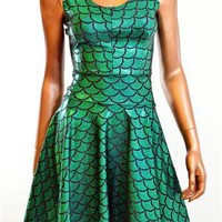 Emerald Green Dragon Scale Skater Dress