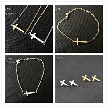 Vintage Jewelry Set Stainless Steel Tiny Cross Pendant Necklace Stud Earrings Bracelet Ring in Gold/Silver S25