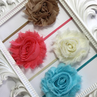 "Shabby Flower Headband, Newborn Headband, Baby Headband, Newborn Photo Prop, One 1/8"" Shabby Flower Headband - Your Choice of Color"