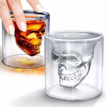 4Pcs/Set 25ML Hot Sale Creative Skull Shot Glass Beer Cup Double Layer Transparent Wine Whiskey Cup Drinkware