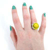 Miniature Yellow Macaron Ring Food Fashion Jewelry
