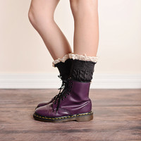 Vintage Lace Trim Cable Knit Boot Cuffs Dark Gray Ankle Socks