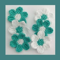 6 medium turquoise and white, crochet  flowers, appliques and embellishments