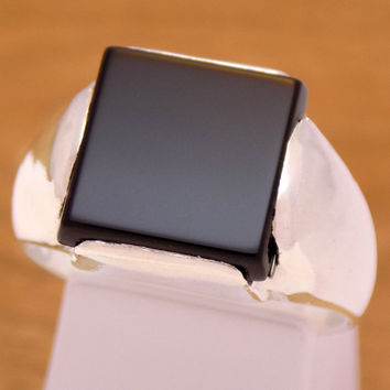 Massive Solid Sterling Silver Men's Black Onyx Ring 925 Hallmark Stylish Square Impressive Classic Handmade Handcrafted Size 9.5 US / S 1/2