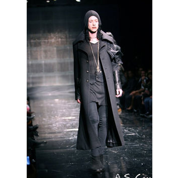Michel Berandi'Designer Long Wool Coat Nosferatu Menswear High End Fashion Runway Men Clothing Boutique Lux Interior