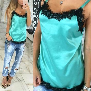 ONETOW Fashion Sexy Women Camisoles  Summer Casual Lace Patchwork Vest Tops Sleeveless Tank Tops T-Shirt
