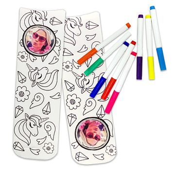 Fun Unicorn Socks to Color In, Just Add Your Photo to Personalize