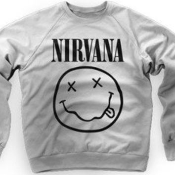 NIRVANA SWEATER SMILEY FACE LOGO GREY CREW SWEATSHIRT KURT COBAIN DAVE GROHL
