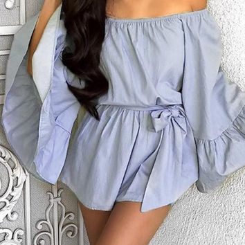 Blue Plain Belt Bandeau Flare Sleeve Off-Shoulder Falbala Short Jumpsuit