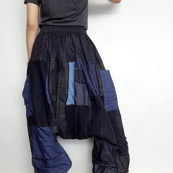 Drop crotch Long Trouser, OOAK Unisex Patchwork Baggy pants, denim lightweight (pants-P2).