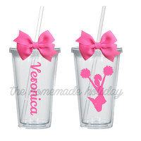 Cheerleader acrylic tumbler, for coach or team! coach cup, cheerleader team cup