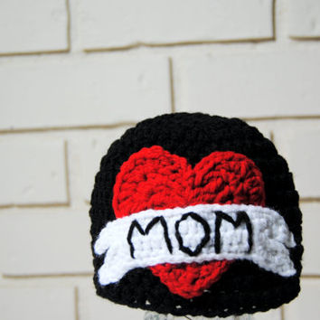 Crochet Mom Tattoo Hat, Punk Rock Baby, Boys Crochet Hat, Newborn Photo Prop, Toddler Boys, Mothers Day, Infant Boys Hat, Punk Baby Beanie