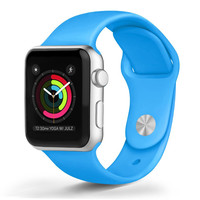 Apple - Apple Watch™ Soft Silicone Bands Blue (38mm)