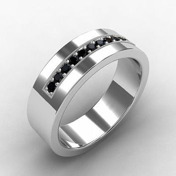 Black diamond ring, white gold, wedding band, mens wedding ring, commitment ring, black, gothic, milgrain, men unique wedding