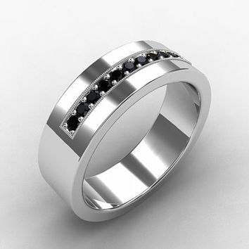 black diamond ring white gold wedding band mens wedding ring commitment ring - Mens White Gold Wedding Rings