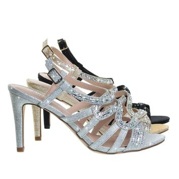 Rita6 Silver By Blossom, High Heel Open Toe Evening Party Sandal w Rhinestone & Glitter