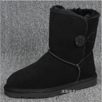 """UGG"" Women Fashion Wool Snow Boots Calfskin Shoes A Button shoes Black"