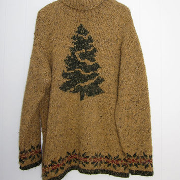 Vtg Holiday Christmas Tree Sweater Rustic Cottage Oversized Turtleneck Chunky Knit S M L
