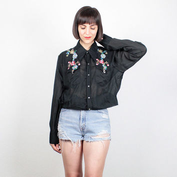 Vintage Rockmount Western Shirt Pearl Snap Button Cowboy Shirt Rockabilly Embroidered Black Western Shirt 1970s 70s Floral Metallic L Large
