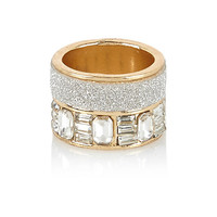 River Island Womens Gold tone two row encrusted ring