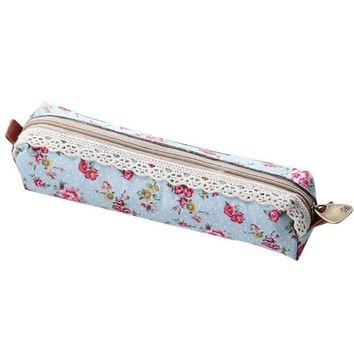DCCKV2S HP95(TM) Fashion Flower Print Lace Pen Pencil Case Makeup Cosmetic Pouch Purse (A)