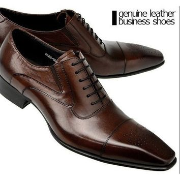 2016 New Genuine Leather Business Shoes Men Classic Shoes Men Casual Leather Oxfords Men Dress Shoes