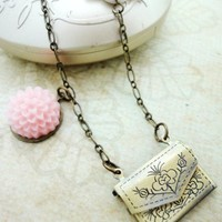 Antique Brass Envelope Letter Locket Pink Flower Bird