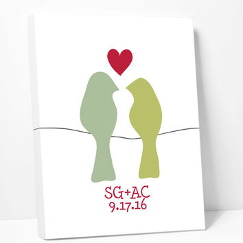 Canvas Print: Love Birds on a Wire (Green)