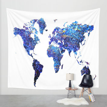 world map blue purple wall tapestry by haroulita