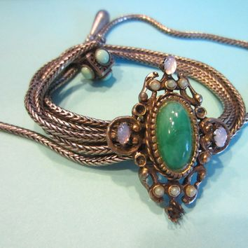 Victorian Opal Book Piece Charm Bracelet Green Jade Filigree Strands Turquoise
