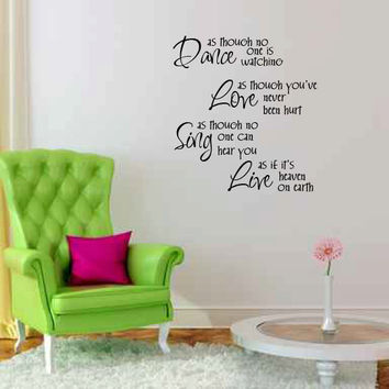 Dance Love Sing Live Vinyl Wall Words Decal Sticker Graphic