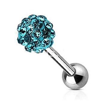 Tongue rings Crystal Paved Ferido Ball 316L surgical Steel Barbell