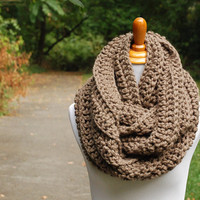 Oversized Infinity Scarf - Fashion Scarves - Winter Scarf - Circle Scarf - Chunky Crochet Scarf - Chunky Crochet Cowl - Taupe Scarf