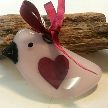 Fused glass heart pink bird love token , shabby chic, love birds Wedding day thanks, with love to someone special, All my love, wedding gift