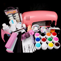 Pro Full 9W Pink Cure Lamp Dryer & 12 Color UV Gel Nail Art Tips Tool Kits Sets