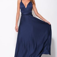 Drinking Vino Maxi Dress Navy