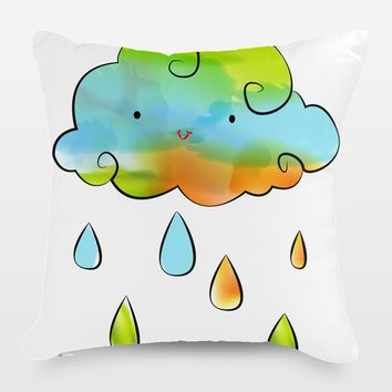 Colorful Rain Cloud Throw Pillow by Playedonwalls on BoomBoomPrints