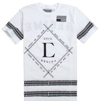Civil Go Hard T-Shirt - Mens Tee - White
