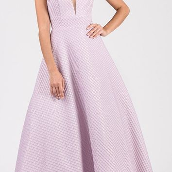 Lilac V-Neck and Back A-Line Prom Ball Gown
