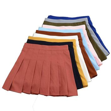 Women 2017 Summer Stretch High Waist Skirts Pleated Bottoming A-line Anti-emptied School Style Female Solid Casual Mini Skirts