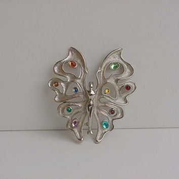 Lady With Butterfly Wings Brooch Silver And Rhinestones Mid Century Figural Woman Pin 1950's Vintage Costume Jewelry