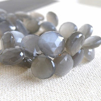 Grey Moonstone Gemstone Briolette Faceted Heart 10.5mm 22 beads 1/2 strand Wholesale
