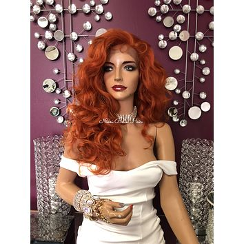 Orange Curly Wavy Long Swiss Multi Parting Lace Front Wig 22"