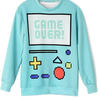 Mint Green Game Over Print Sweatshirt
