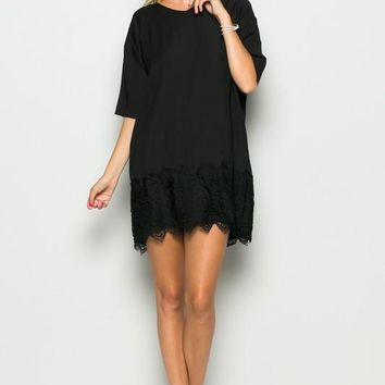 LACE BOTTOM TUNIC DRESS